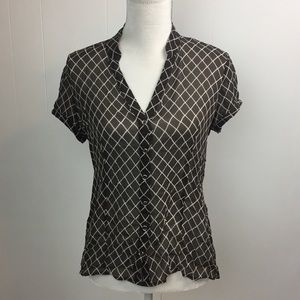 Express Blouse Sz L Brown Diamond Sheer 100% Silk
